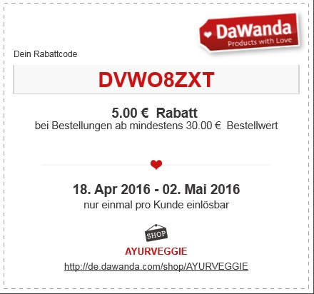 Rabatt-Coupon Dawanda Frühling April-Mai2016